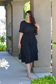 Aurelia Black Ruffled Dress