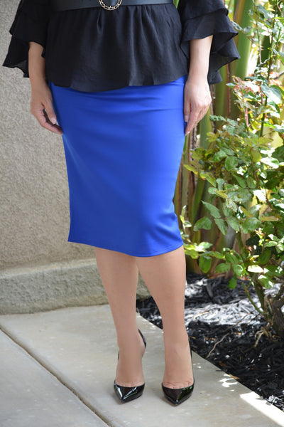 Sarah Royal Blue Pencil Skirt