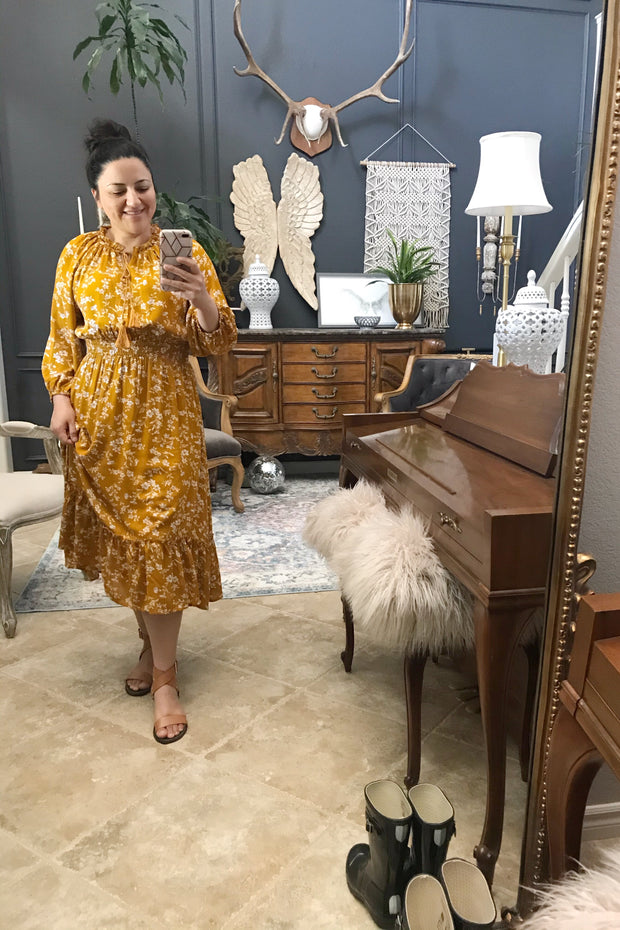 Lally Bohemian Mustard Floral Dress