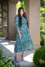 Belle Emerald Floral Dress