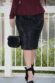 Claudia Black Sequin Skirt