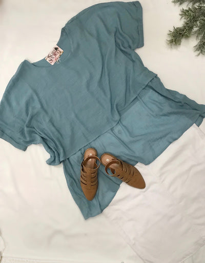 Isabel Curvy Sky Blue Top