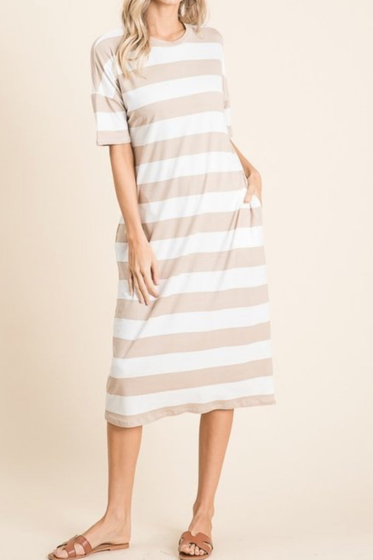 Melly Tan Thick Striped Dress
