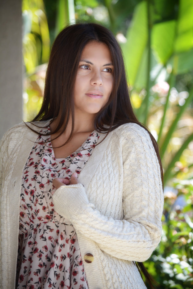 Marjorie Ivory Cable Knit Cardigan