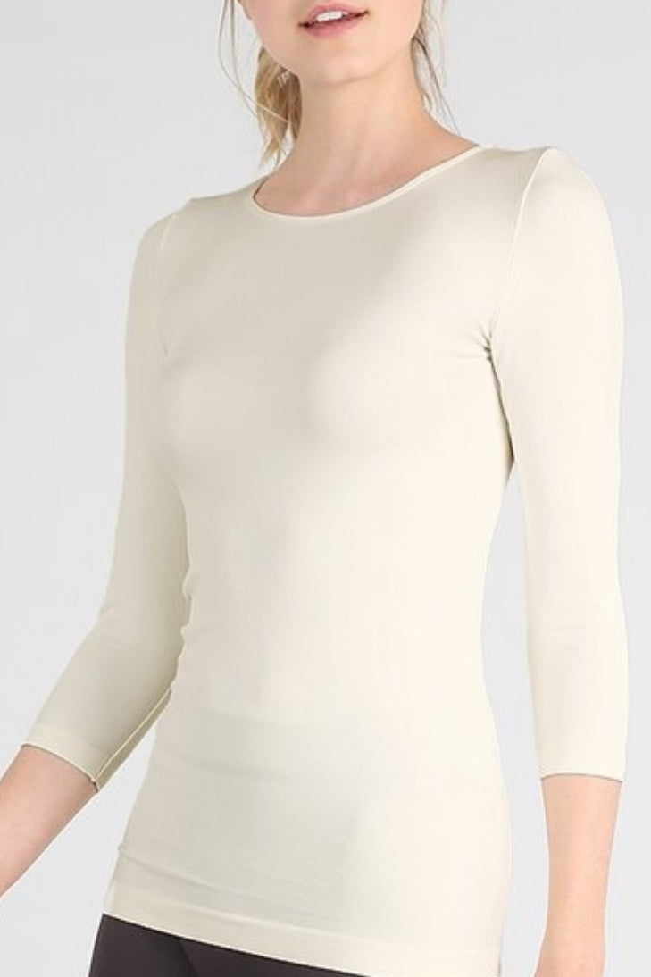 Chelsea Ivory Seamless Top -3/4 Sleeve