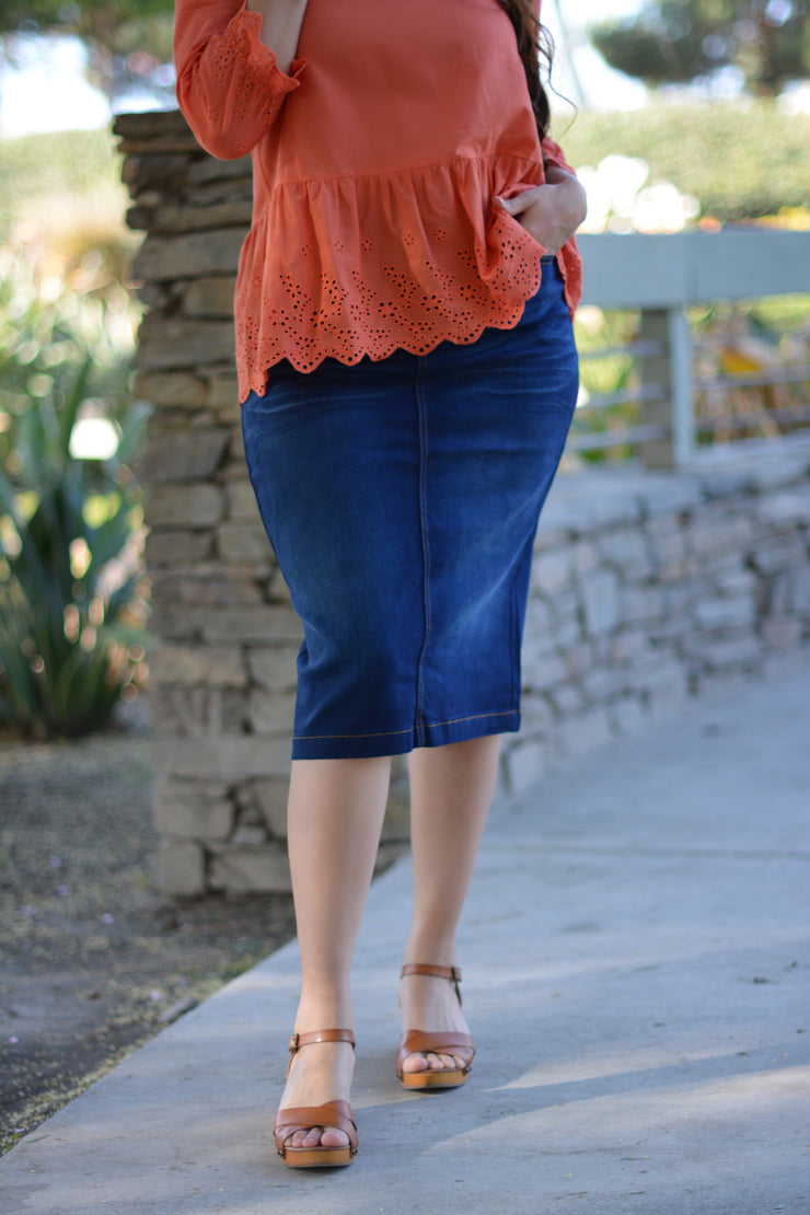 Darling Chic Dark Denim Skirt