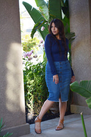 Jaclyn Faux Buttoned Denim Skirt