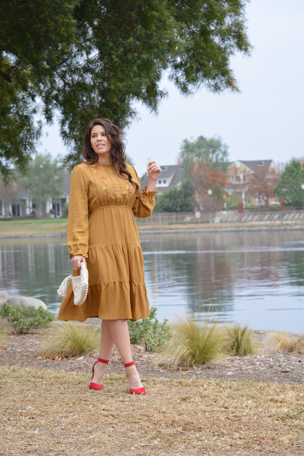 Felicity Mustard Embroidered Dress