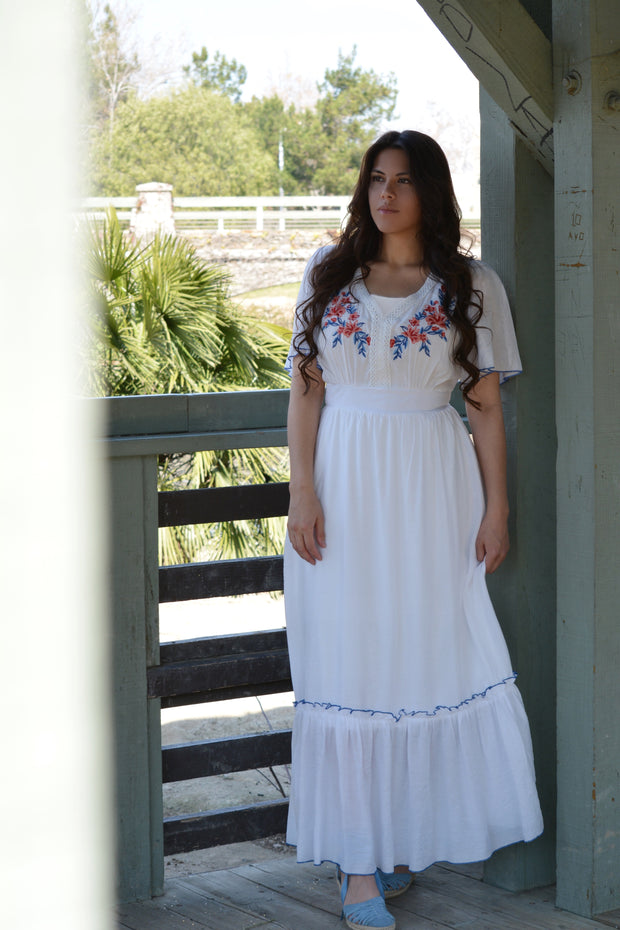 Everly White Embroidered Maxi Dress
