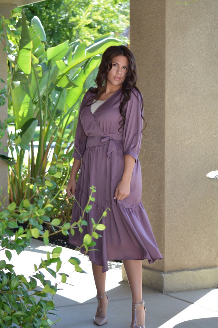 Caroline Lavendar Wrap Dress