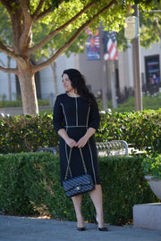 Athens Black (Creme Piping) Dress