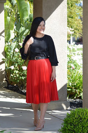 Jasmine Red Pleated Skirt