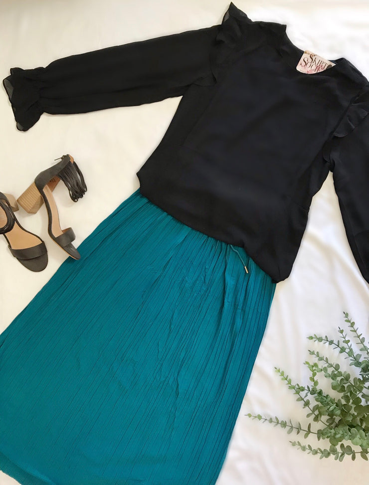 Reese Pleated Teal Maxi Skirt