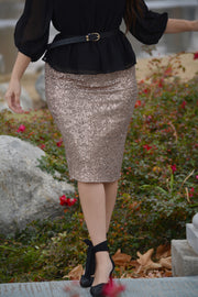 Claudia Rose Gold Sequin Skirt