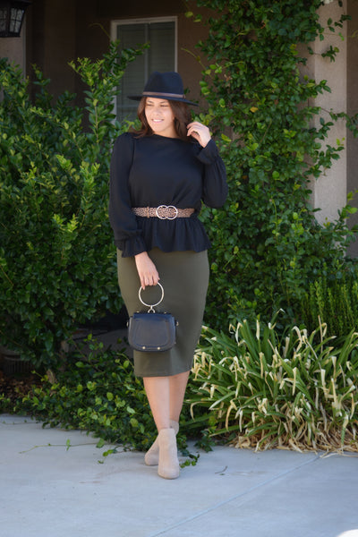 Penelope Olive Green Pencil Skirt