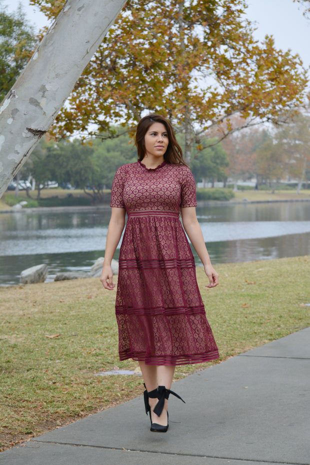 Selma Burgundy Lace Dress