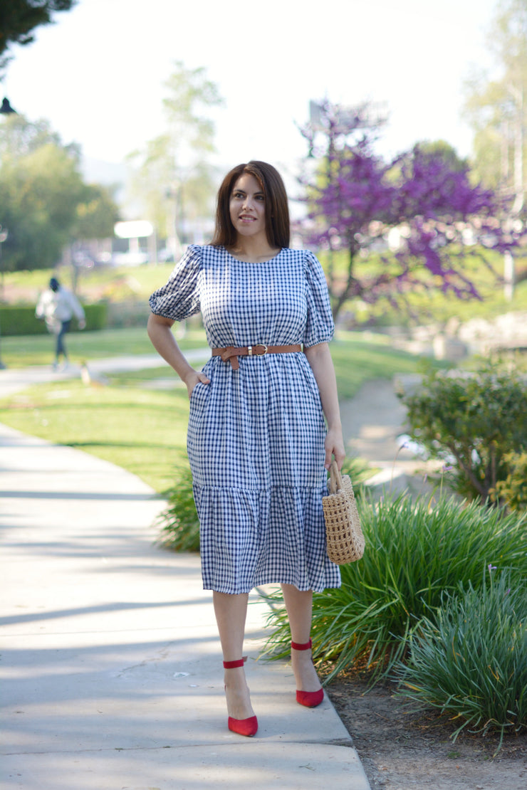 Avery Navy Gingham Dress