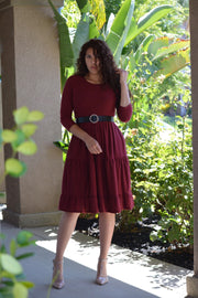 Stella Swissdot Burgundy Dress