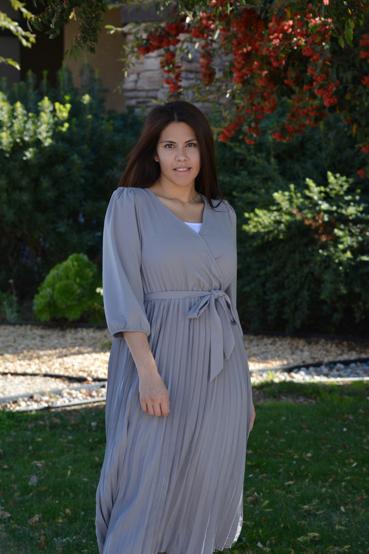 Maribel Gray Pleated Dress