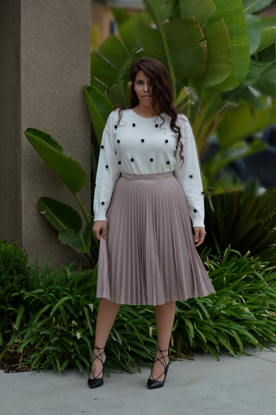 Jasmine Taupe Pleated Skirt