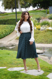 Ava Emerald Green Polkadot Skirt