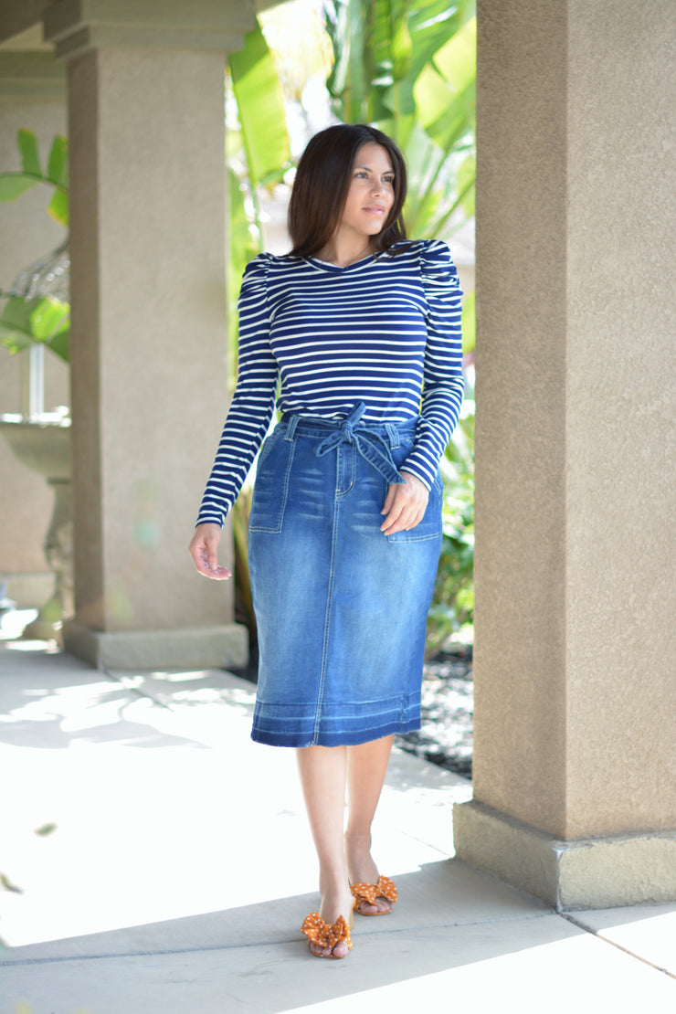 Blanche Navy Striped Puff Sleeve Top