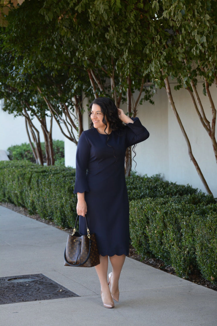 Lille Navy Scalloped Dress