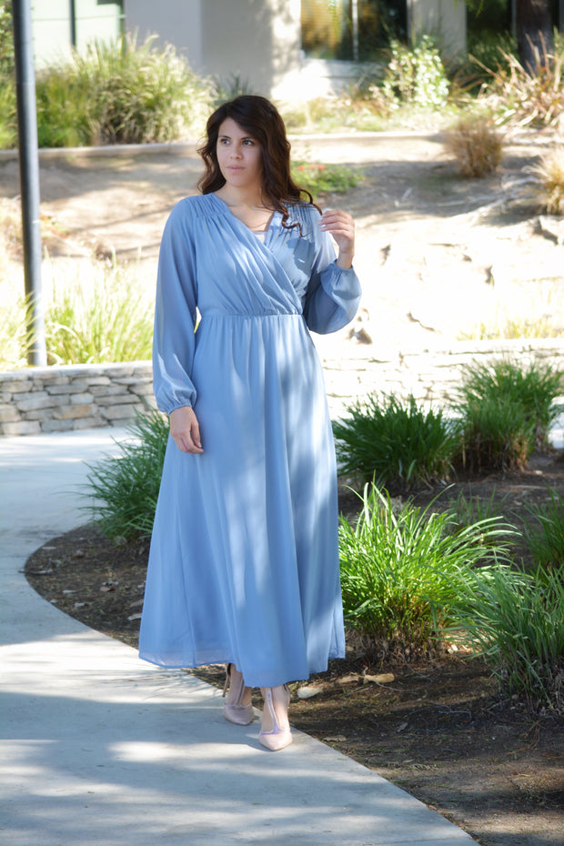 Tabitha Dusty Blue Faux Wrap Dress