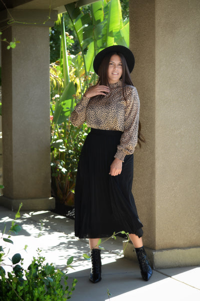 Aubrey Black Pleated Skirt