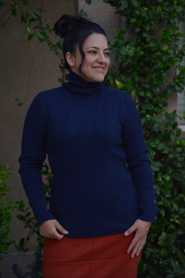 Victoria Navy Ribbed Turtleneck