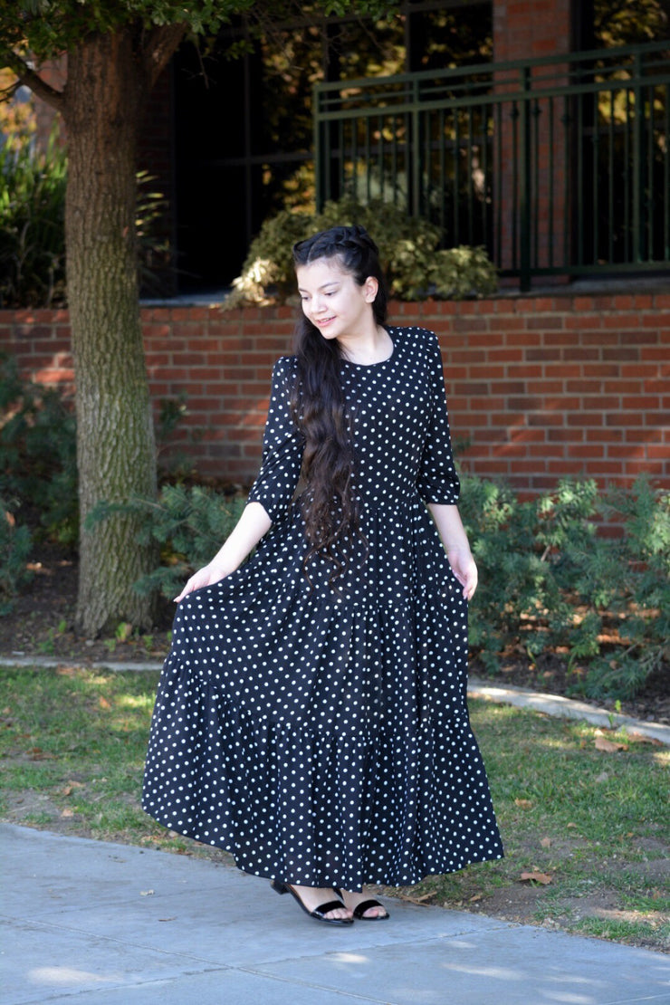 Marbella Black Polkadot Maxi Dress
