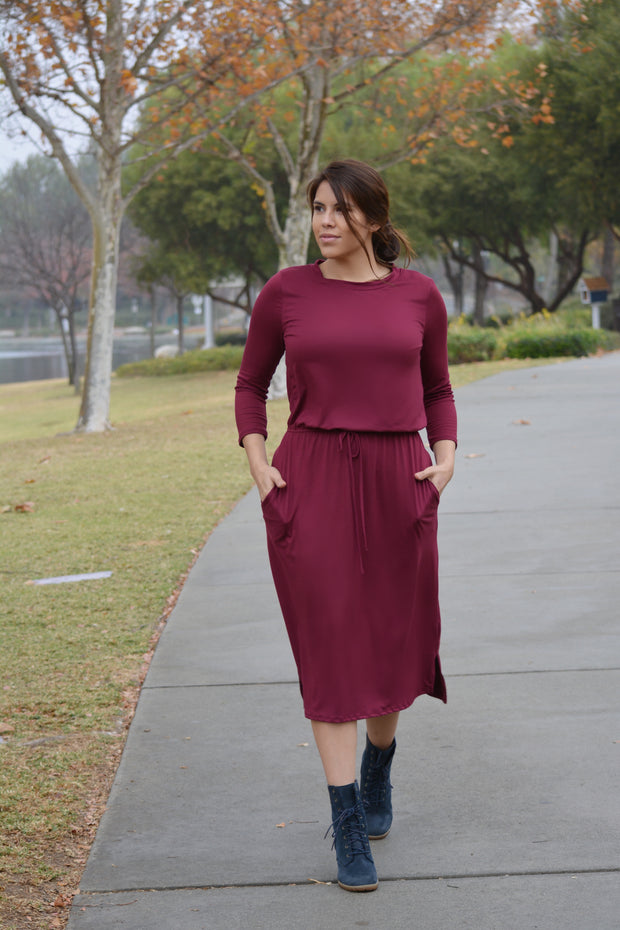 Aria Burgundy Jogger Dress