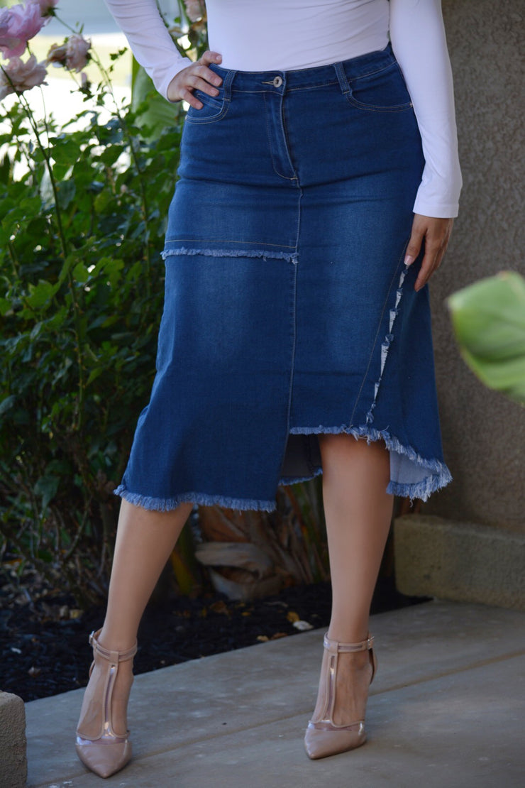 Christy Asymmetrical Denim Skirt