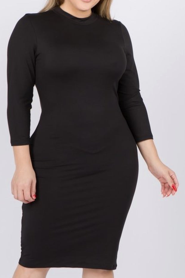 Emily Mock Neck Pencil Layering Dress