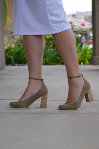 Kylie Light Olive Ankle Strap Block Heel