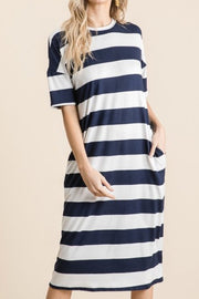 Melly Navy Thick Striped Dress