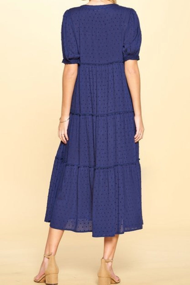 Lyla Navy Embroidered Buttoned Swing Dress