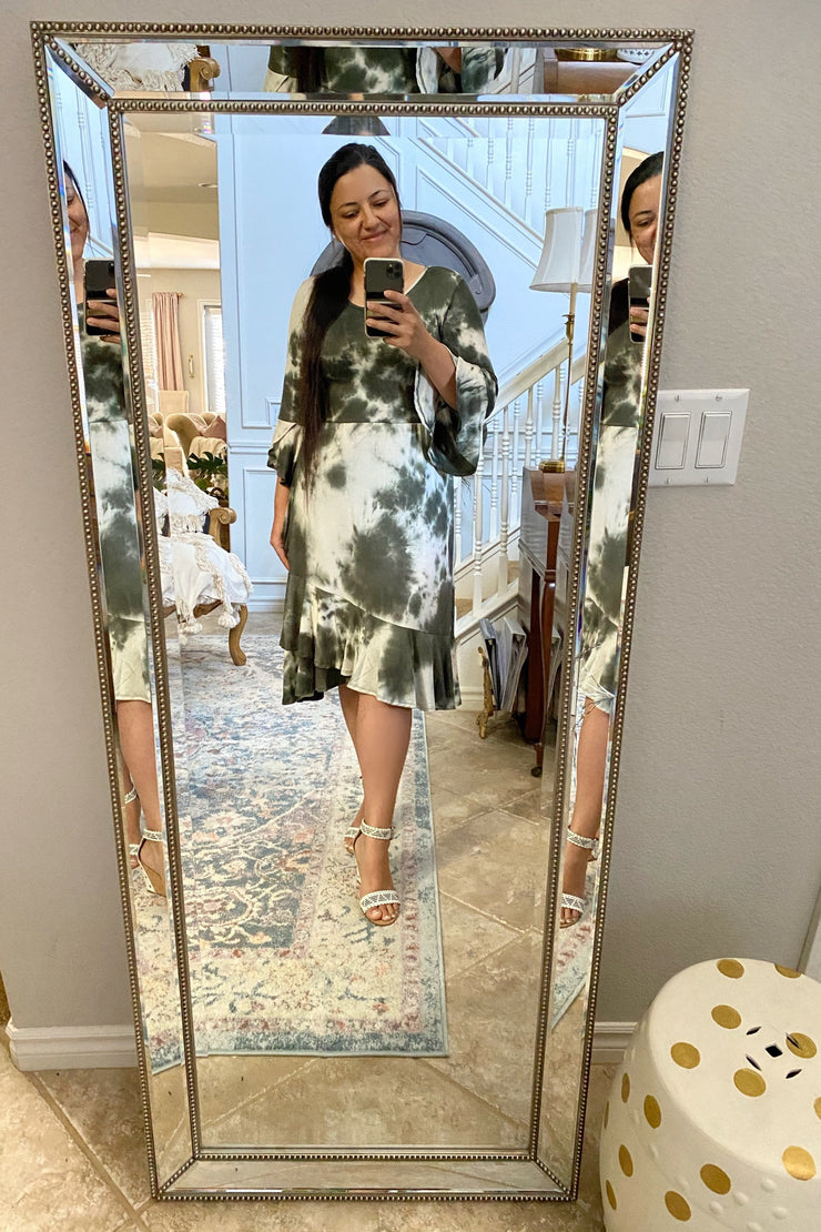 Kelsey Olive Green Tie Dye Dress