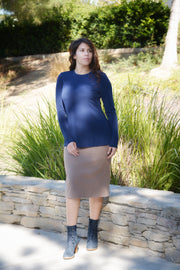 Heather Navy Loose Peplum Style Top