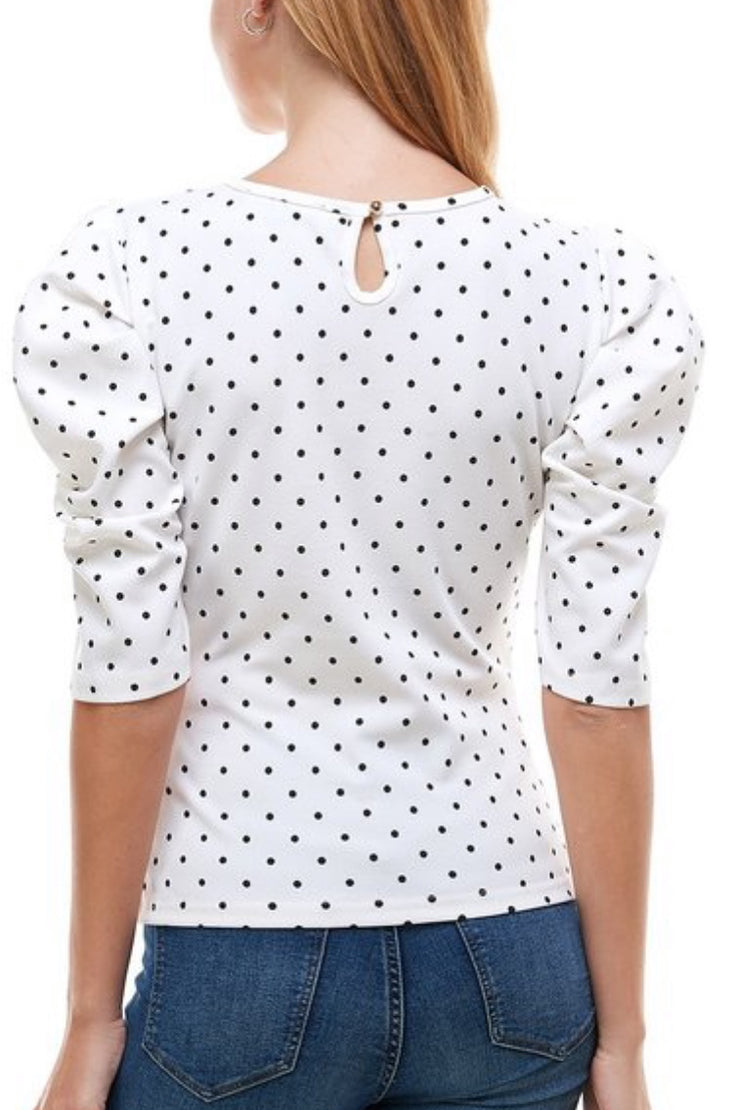 Eloisa Polkadot Puff Sleeve Top