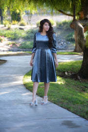 Capri  Slate Blue Gray Velvet Puff Sleeve Dress