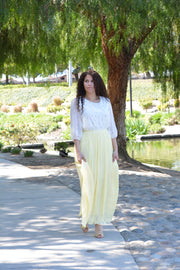 Adelaide Light Yellow Pleated Maxi Skirt