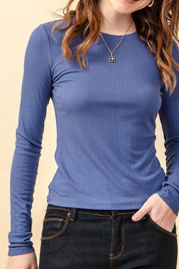 Miranda Indigo Ribbed Top