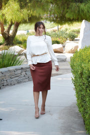 Penny Cotton Rust Pencil Skirt
