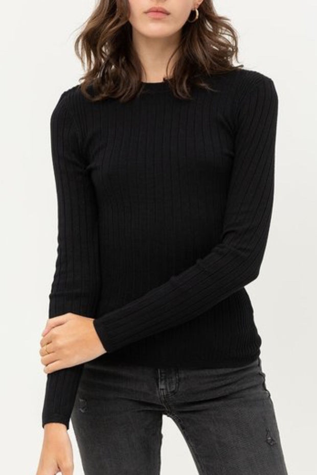 Esme Black Ribbed Top