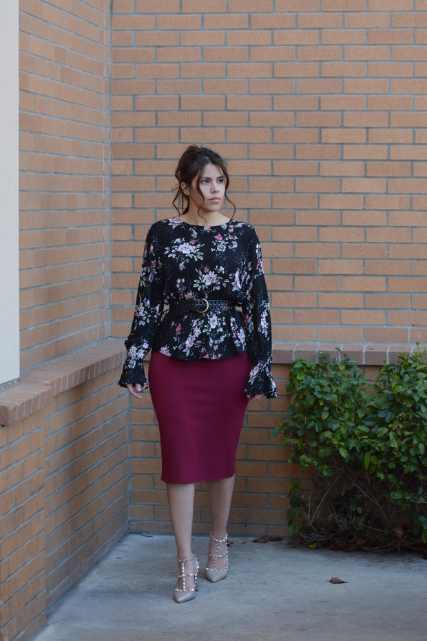 Penelope Cabernet Pencil Skirt