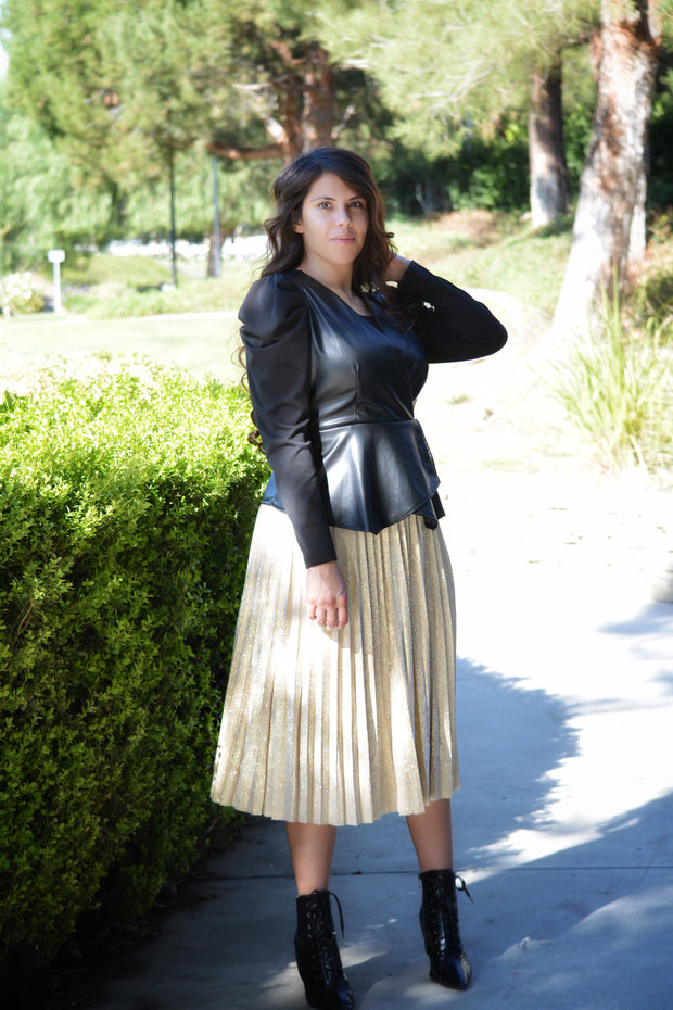 Victoria Gold Pleated Skirt