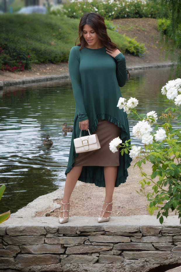 Reyna Emerald Green High Low Ruffled Top