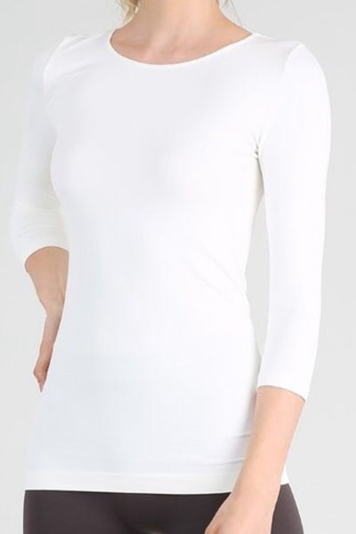 Chelsea White Seamless Top -3/4 Sleeve
