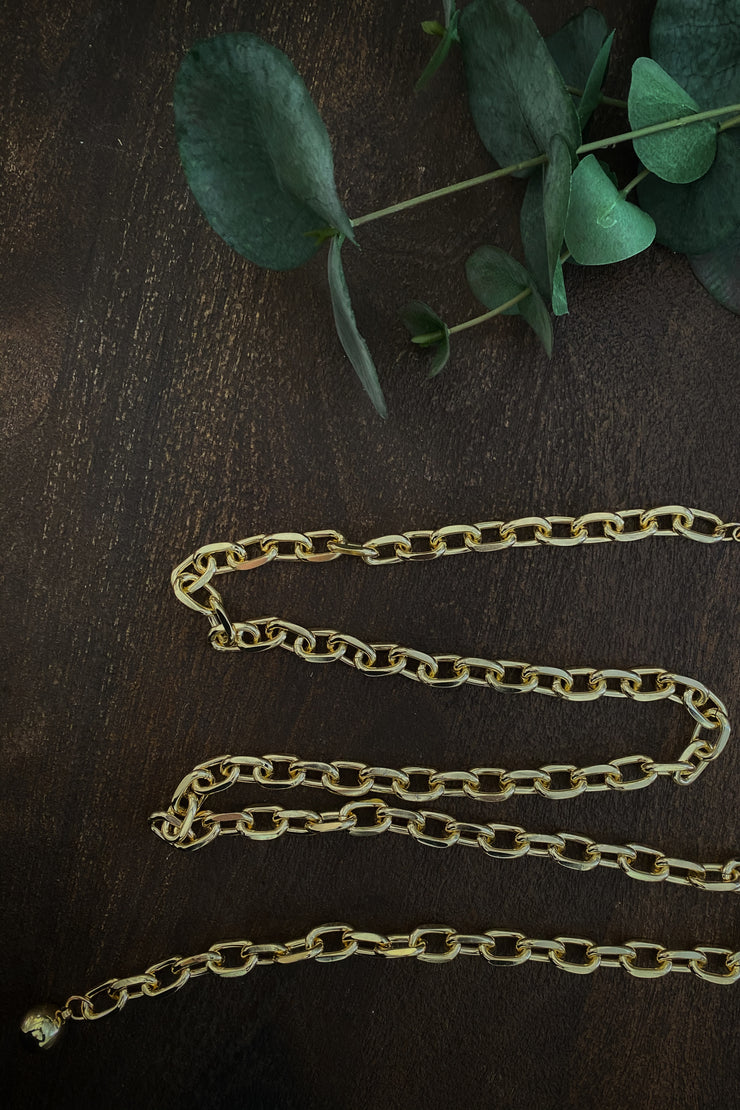 Genevieve Gold Small Chain Link Belt